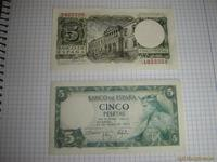 Billete de 5 pts,año 1954