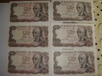 6 Billetes de 100pts,año 1970