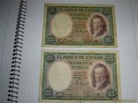 2 billetes de 25pts antiguos