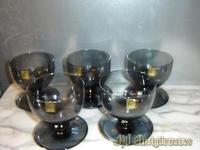 5 Copas de postre de cristal de firma